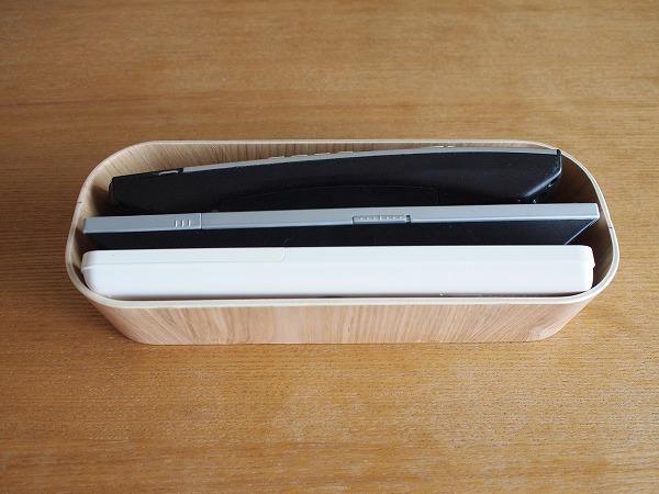 無印良品の木製ケースにリモコンを入れた画像