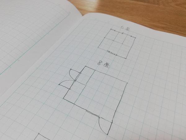 6畳と8畳の間取図
